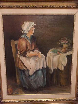 Cuadro mujer con mesa camilla