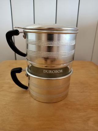 Taza de café DUROBOR de cristal y metal.
