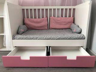 Habitación ikea stuva rosa + colchón babykeeper