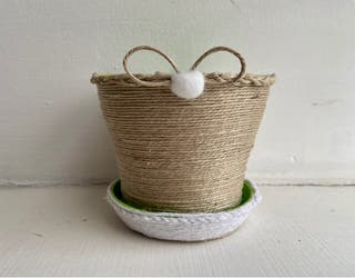 Plastic flower pot with jute twine