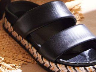 Sandalias de cuero negro y yute Zara Home mujer