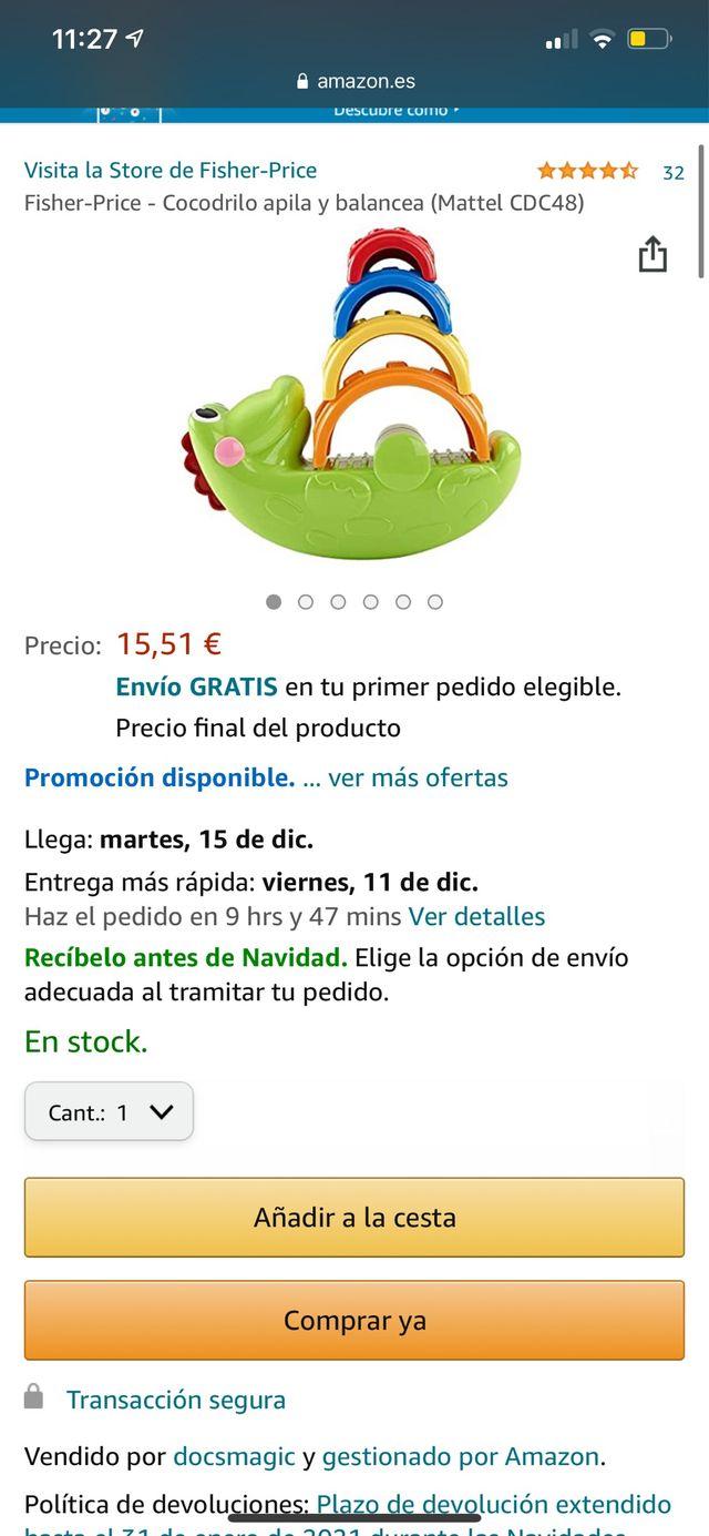 JUGUETE FISHER PRICE (cocodrilo apila y balancea)