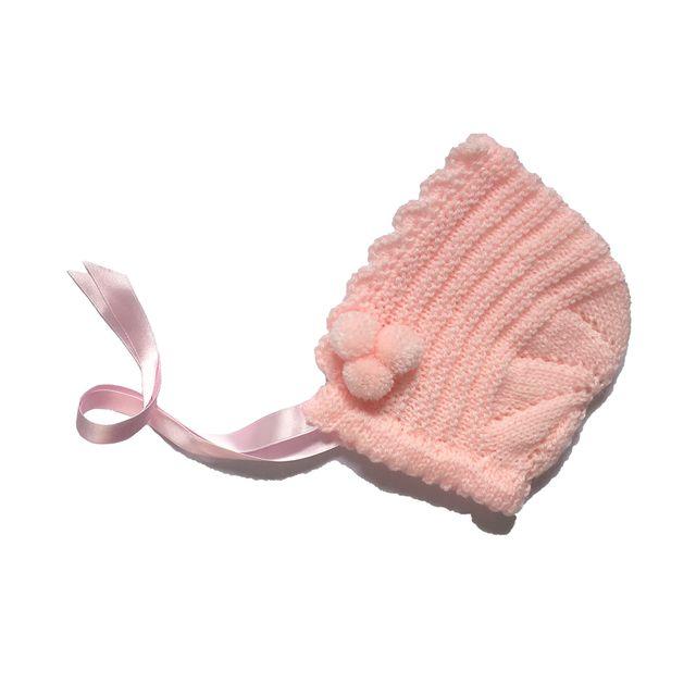 Capota de lana rosa bebé niña de 6 a 12 meses