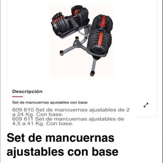 Set de mancuernas ajustables con base