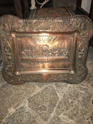 Cuadro Santa Cena de bronce repujado