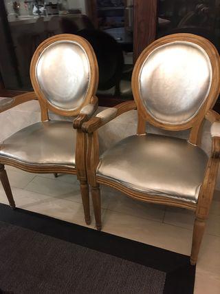 Dos sillas comedor medallón royale cosy Luis XVI