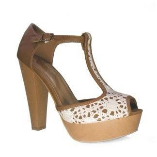 Sandalias de tacón marrones crochet de Marypaz