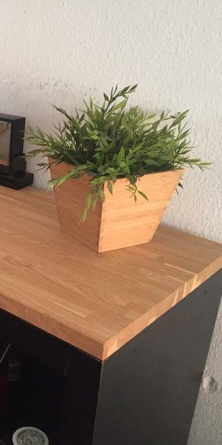 Planta artificial + maceta de bambú