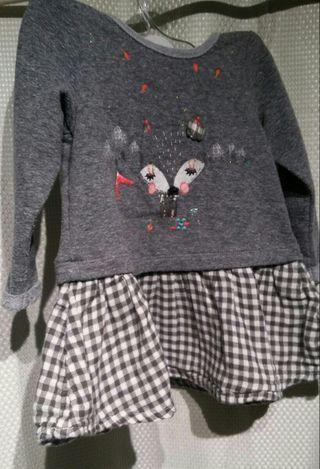 Vestido de niña gris - 9 meses
