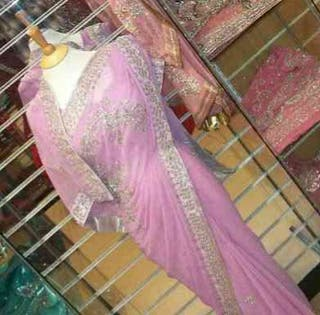 Elegant Pink Diamond Saree