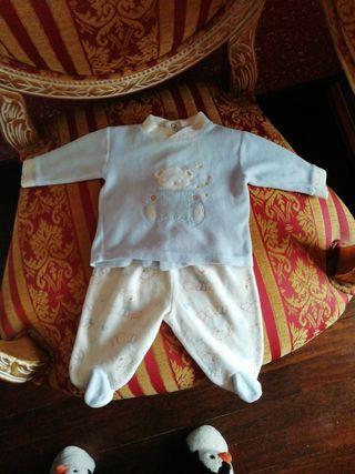 Pijama talla 1 mes recién nacido azul oso osito