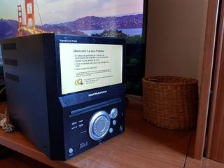 minicadena tv, dvd, radio,usb, cd + 2 altavoces