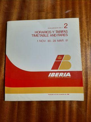 Horarios y tarifas Iberia año 1980/81