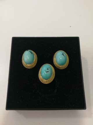 conjunto pendientes y anillo vintage oro 18 kilate