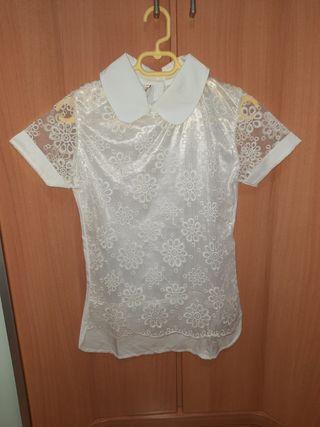 camiseta manga corta con transparencia