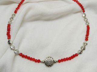 Collar THAI cristal facetado color rojo