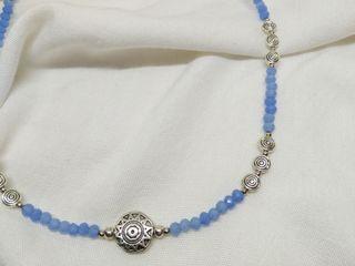 Collar THAI cristal color azul helado