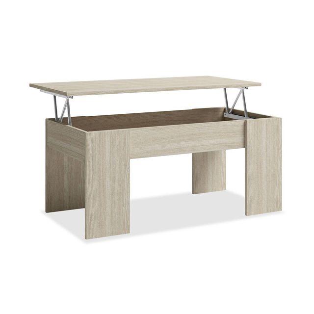 Mesa de centro elevable wengué/blanco/madera