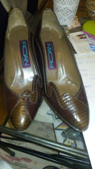zapato roan 37.5 piel marrón impecables