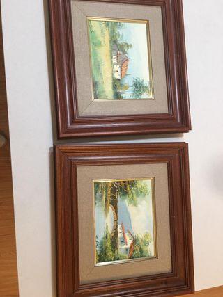 Oleos vintage (2) enmarcados cuadros