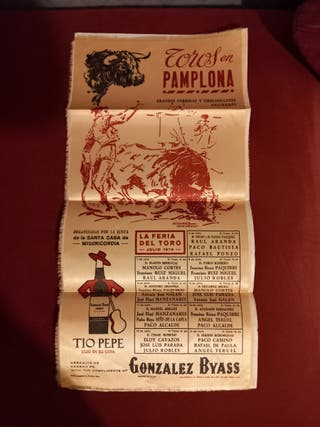 cartel taurino seda de Pamplona 1975.