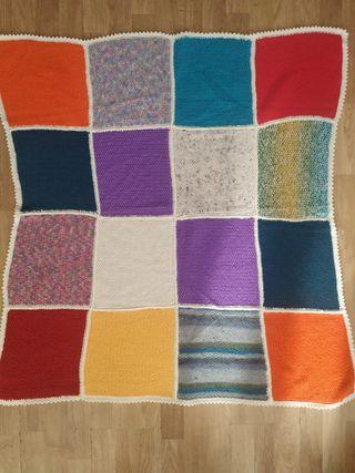 Manta vintage autentica lana patchwork hecho a man