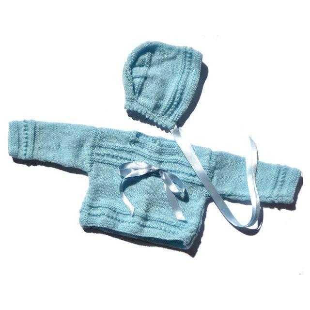 Conjunto jersey y capota bebé 0-3 meses azul lana