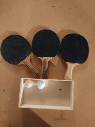 Raqueta ping pong y 2 bolas (3 raquetas)