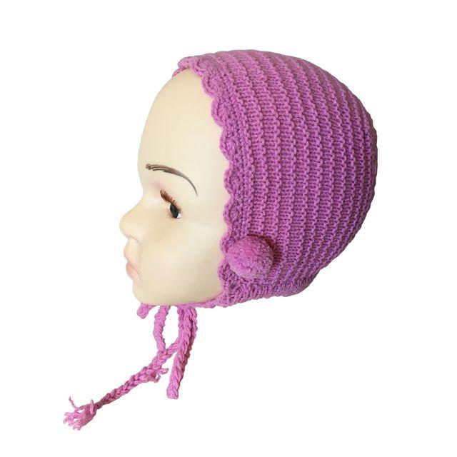 Capota de lana rosa malva para bebé de 3-6 meses