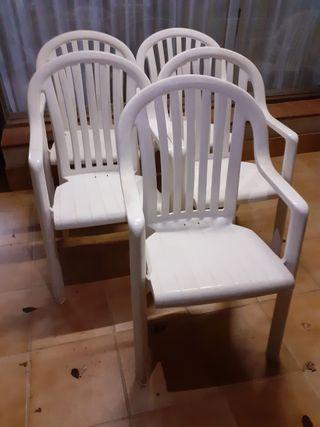 Juego de sillas plastico apilables exterior/jardin