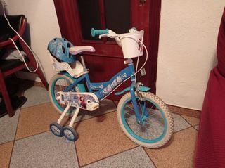 bicicleta 16 pulgadas frosen y casco