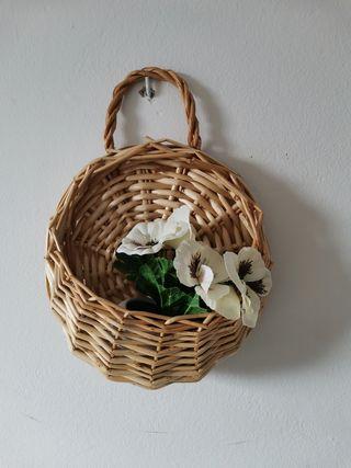 cestas con plantas artificiales x2