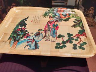 Bandeja de bambú, pintada a mano