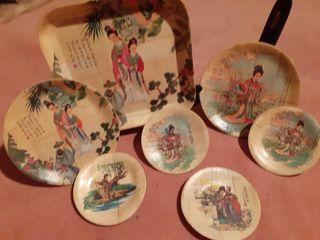 Platos de bambú admito ofertas
