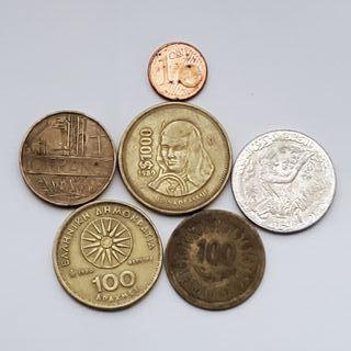 lote 5 monedas extranjeras