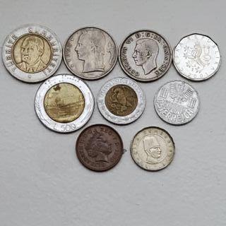 lote 9 monedas extranjeras