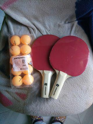Palas ping pong Artengo y bolas