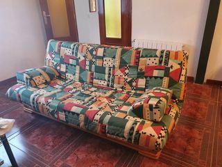 Sofá-cama en madera natural maciza con cajonera