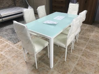 Mesas de Cristal Silvia blanca + 6 sillas