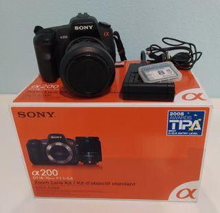 Cámara Fotos Réflex Sony a200 con objetivo 18-70