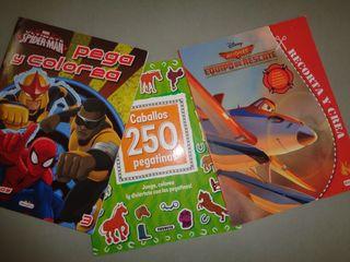 3 libros para jugar, colorear y con pegatinas