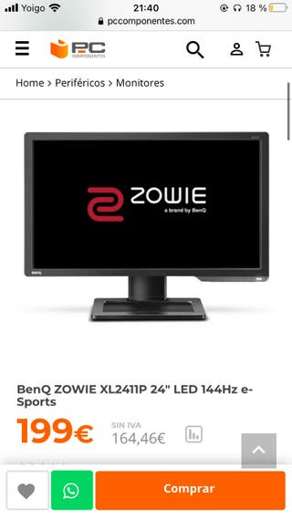 "Monitor BenQ ZOWIE XL2411P 24"" LED 144Hz e-Sports"