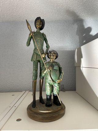 Escultura de escayola. Don quijote y sancho panza