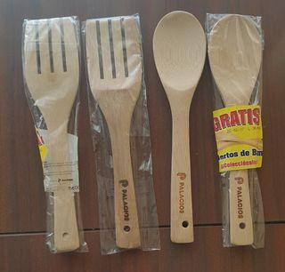 4 utensilios de madera de cocina