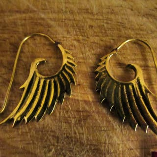 Galaxy Angel Wings brass earrings