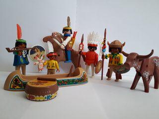 playmobil indios con canoa caballo y vaca