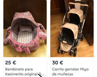 Carrito gemelar muñecos + Bambineto Kasimerito
