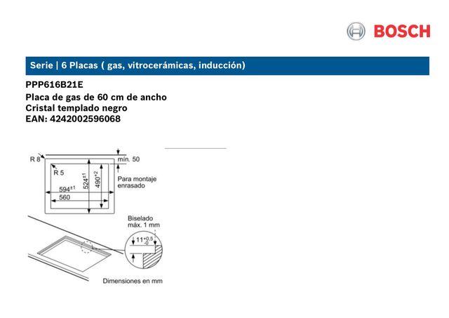 Placa de gas Bosch modelo PPP616B21E