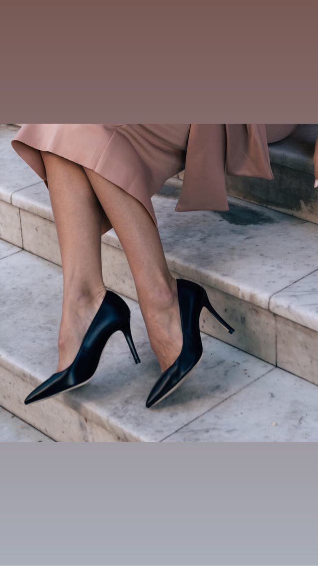 Black leather court shoes