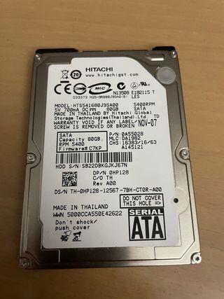 "Disco duro HHD 2,5"" SATA 80GB"